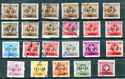 Greece 23 Old Rrr Greek Revenue Stamps Different Used Jump Ενσημα Fund Tae (Z4)