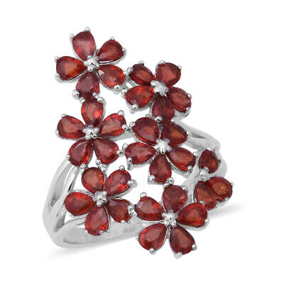 925 Sterling Silver Red Sapphire Flower Ring Gift Jewelry Size 5 Ct 6.1