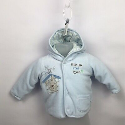 Marks & Spencer Baby Boys Blue Hooded Padded Jacket Coat Age Up To 3 Months