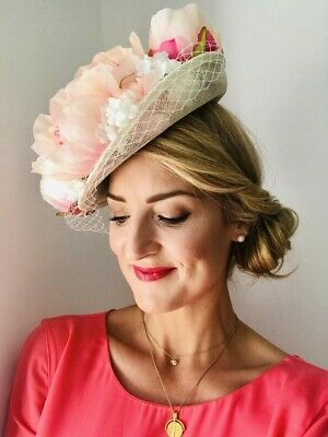 Handmade Statement Floral Sinamay Dipped Side Fit Hat Fascinator Blush Fuchsia