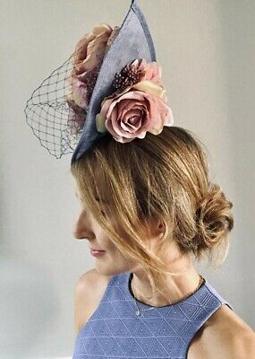Handmade Statement Large Side Teardrop Hat Fascinator Blue Lilac Blush Pink