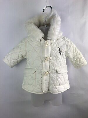 Burberry Baby Infant Girl Boy Quilted Padded Warm Cream Coat Jacket Age 1 Month