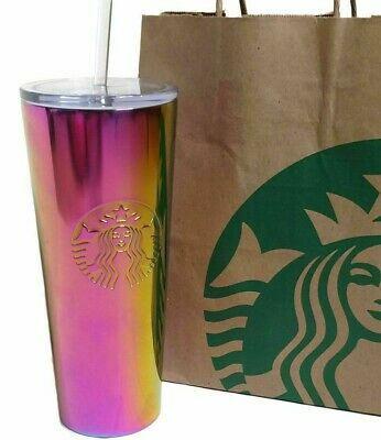 NEW - STARBUCKS Pink Iridescent Cold Cup Tumbler Mug - 2019 - Limited Edition
