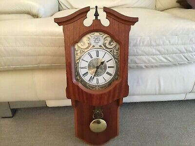Vintage Chiming Wall Clock Working  With Pendulum  2 New Batteries  V.g.c