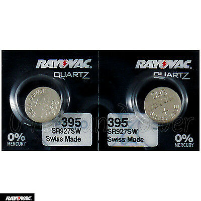 2 X Rayovac 395 Piles Argent Oxyde 1.55V 399 SR927SW SR57 Montres Suisse
