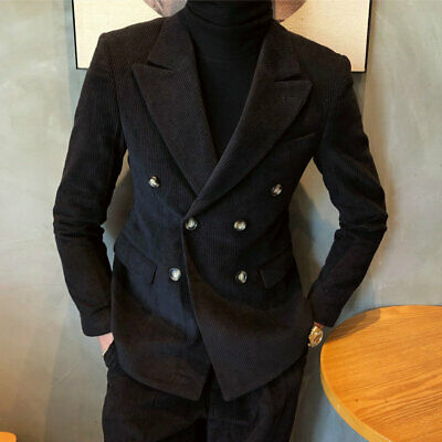 Men's Double-breasted Black Corduroy Suits Wide Peak Lapel Formal Wedding Tuxedo