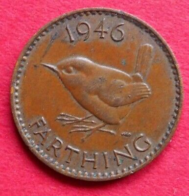 Britain Scarce King George Vi 1946 Wren Farthing Coin Birthday - Date Gift