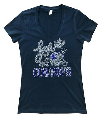Rhinestone Dallas Cowboys Football V-Neck T-Shirt Bling Tee Plus Size Free Ship