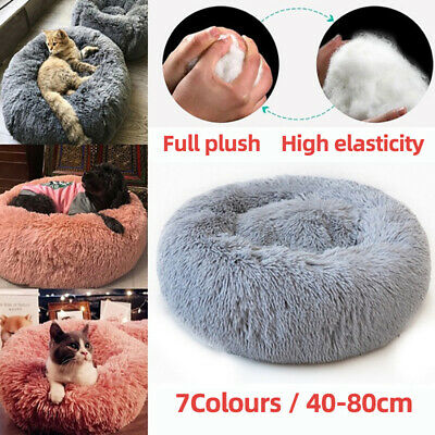 Pet Calming Bed Round Nest Dog Cat Warm Soft Plush Sleeping Bag Comfy Flufy Gift