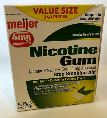 Meijer Nicotine Gum Coated Cool Mint 4 mg. 240 pieces - Stop Smoking Aid