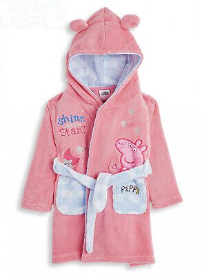 Peppa Pig Dressing Gown for Kids Pink, Hooded Super Soft Girls 2-3 Years