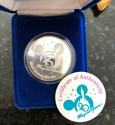 Walt Disney World 20Th Anniver Mickey Mouse 999 Silver Coin Case Coa