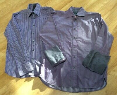 Mens Shirts X 2 by Ted Baker Size 16 Purple Striped