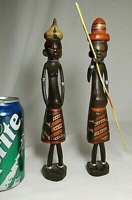 Tribal  African Hand Carved Wood Man & Woman Figurine Sculptures