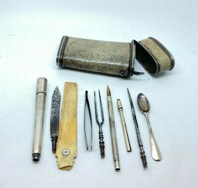 Antique Shagreen Leather TRAVEL Etui Necessaire  10 pc Original Tools