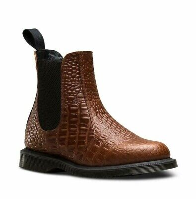 Dr Martens Flora Croc Dark Brown Faux Crocodile Leather Chelsea Boots UK 4