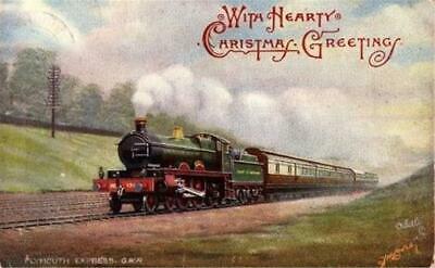 Gwr Great Western Railway Plymouth Express  F Moore Hearty Xmas Greetings