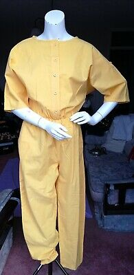Vintage 80's Richards 100% cotton yellow elasticated waist jumpsuit UK size 10