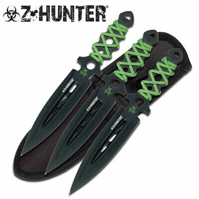Z-Hunter Zombie Throwing Knife Set with Three Knives Green Cord Wrapped Handle