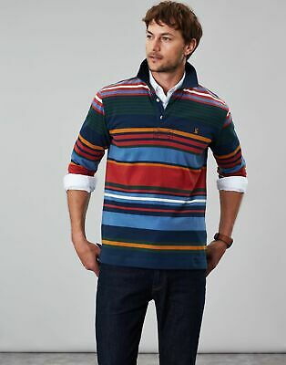 Joules Mens Holywell Hotchpotch Multistripe Rugby in NAVY MULTI STRIPE Size XL