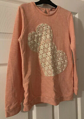Girls Pink Top With Heart Detail - Age 8-9 (by George)