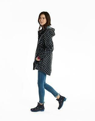 Joules Womens Golightly Waterproof Packaway Coat in NAVY SPOT Size 16