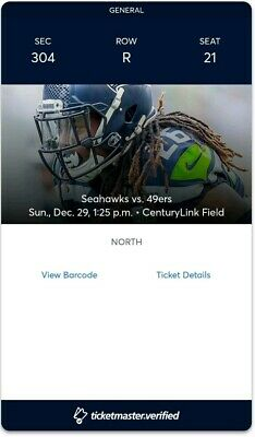 Seahawks tickets vs 49ers dec.29/19
