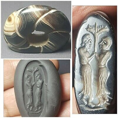 Wonderful old banded agate intaglio seal bead