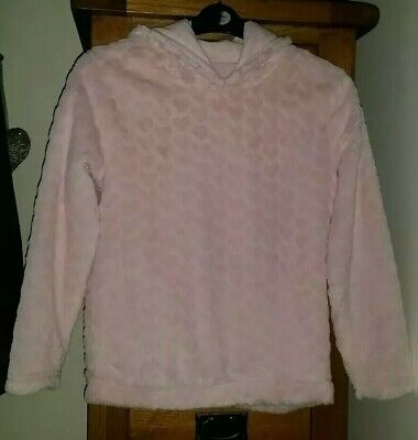 💞Girls Beautiful Warm Pink Soft Heart Hooded Top Age 12-13 Years💞
