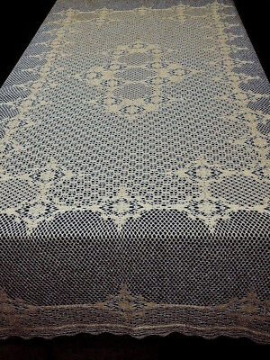 "70"" x 90"" Lace Tablecloth Antique Gold Crochet Style Carmen Diningroom Wedding"