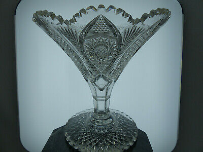 Exceptional Large Antique ABP American Brilliant Cut Glass Tazza Vase Compote