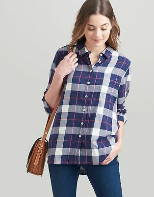 Joules Womens Lorena Relaxed Button Through Shirt in NAVY CHECK Size 10