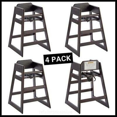 3 Pack Stacking Restaurant Brown Wood High Chair
