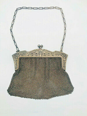 Antique Sterling Silver Mesh Chain mail Purse Nice Engravings Made in Germany