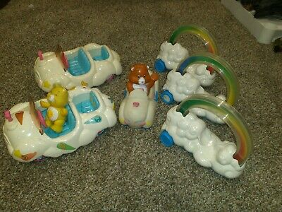 Vintage Care Bears Cloud Car And Cruiser Lot Of 6 And One Figure
