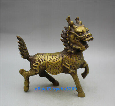 Collection Chinese Brass Handwork Carved Kirin statue