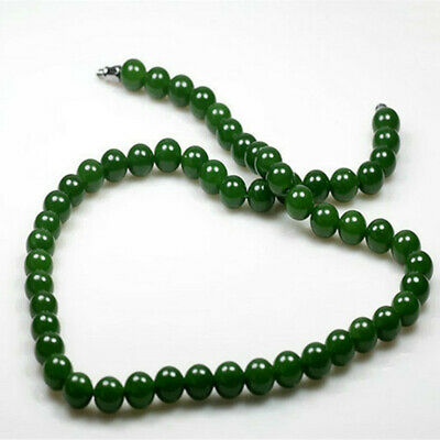 Fine Natural Chinese HeTian Jade Emerald Green Nephrite Beads Necklace 8mm Beads