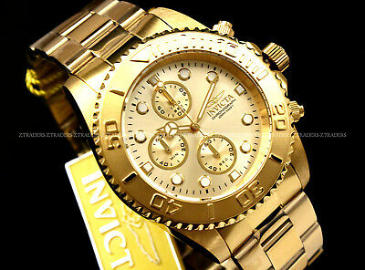 NEW Invicta Pro Diver CHAMPAGNE Dial 18K GOLD PLATED Chrono SS Bracelet Watch