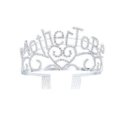 Metal Mother To Be Silver Tiara Hearts Crown With Sparkling Rhinestones For hnm