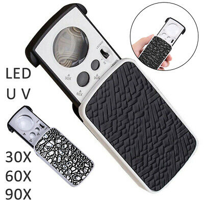Pocket Magnifying 30/60/90X Jewellers Magnifier Glass UV LED Light Loupe Ace