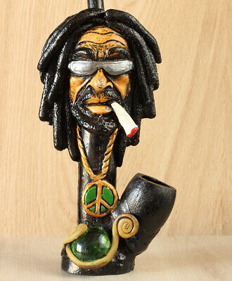 Rasta Hand Crafted Figurine Smoking Pipe Tobacco med Pot herb