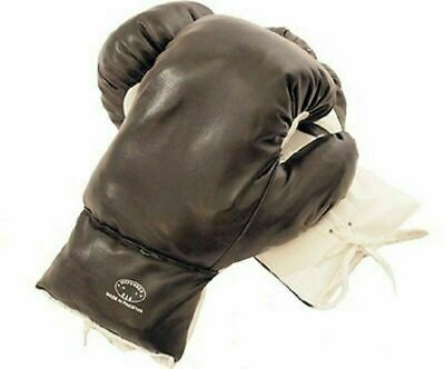 Kids 6 Oz Black Faux Leather Boxing Gloves SPARRING YOUTH PRACTICE TRAINING MMA