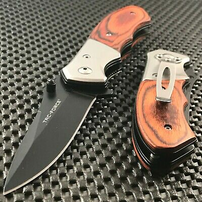 "7.0"" Hunting Camping Spring Assisted Tactical Outdoor Wood Folding Pocket Knife"