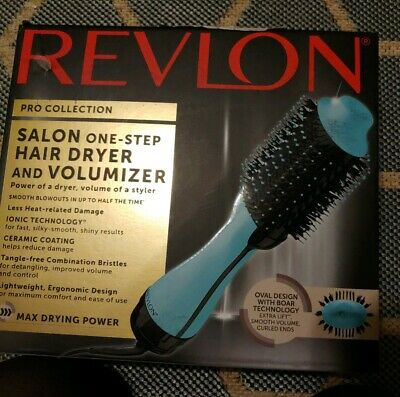 New One-Step Hair Dryer and Volumizer Hot Air Brush blue Easy care salon tangle