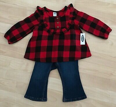 Girls Old Navy 12-18 Months Bootcut Jeans & NWT Red Black Top Shirt