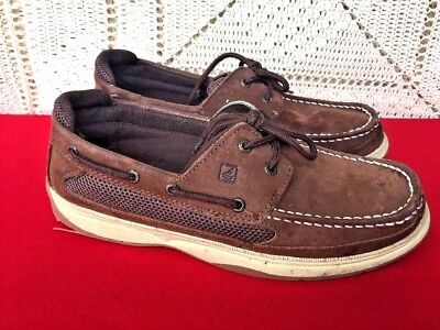 SPERRY TOP SIDER Kids Lanyard Boat Shoes Leather Casual Loafers Boys Shoes Sz 6