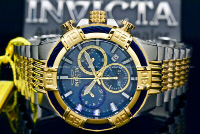 NEW Invicta Men 52MM Bolt SWISS MOVT 18 K Gold Plated Chrono Blue Dial S.S Watch