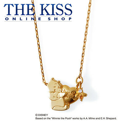 THE KISS Disney Winnie the Pooh Necklace w/Diamond DI-SN6004DM YG Coating 40cm