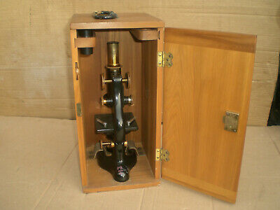 Antique 1915 Bausch & Lomb  Microscope with wood storage case