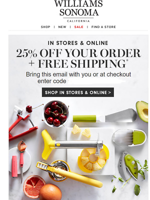 Williams Sonoma 25% OFF FULL PRICE entire purchase coupon exp  12/12/2019